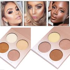professional makeup golden shade highlighter contour glow kit 4 colors brighten bronzer and white shimmer matte face powder in bronzers highlighters from