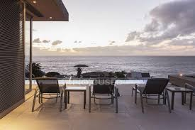 luxury patio with sunset ocean view