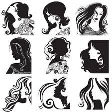 長い髪の女性のシルエット Long Hair Women Fashion Silhouette イラスト