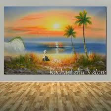 hand painted abstract summer sunset beach oil painting on canvas modern seascape wall pictures lobby