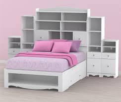 Pixel Full Size Bed with storage headboard and pink cushions ...