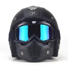 com autopdr open face vintage motorcycle helmet pu leather harley 3 4 motorcycle chopper bike for helmet goggle mask l 59 60cm automotive