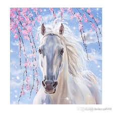 2019 5d diy diamond painting kits white horse cross stitch embroidery needlework canvas paintings frameless exquisite for kids gift 11lx jj from hehong1966