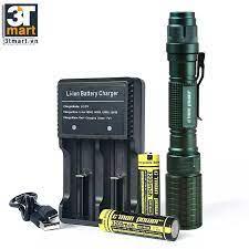 Bộ 1 đèn pin siêu sáng Cmon Power DELTA XML-L2 + 2 pin sạc + bộ sạc đôi  nhanh USB 1A