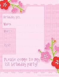1st Birthday Party Invitation Template First Birthday Party Invitation Templates Free Magdalene