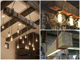 reclaimed wood beams best diy wood lamps restaurant bar chandeliers
