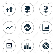Pie Chart Synonym Vector Illustration Set Of Simple Business Icons Elements Pie