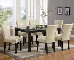 dining table parson chairs interior: pc dining table and cream parson chairs set in deep cappuccino finish by coaster home furnishings