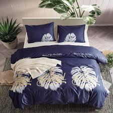 2019 lucky printed sheet king size navy blue style duvet cover set bedding set soft lightweight microfiber children three piece bedding sheet set from