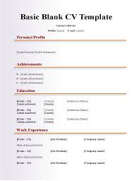 Blank Basic Resume Template Gentileforda Com