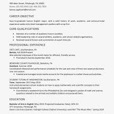 English Major Resumes Career Objective Resume Example Screenshot Of A High Graduate Check