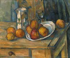 jug painting still life with milk jug and fruit by paul cezanne