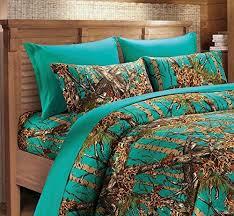 teal camo sheet set king size bedding