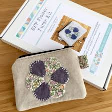 Paper Piecing Flower Epp Flower Purse Kit In Liberty Purple English Paper Piecing Purse Kit