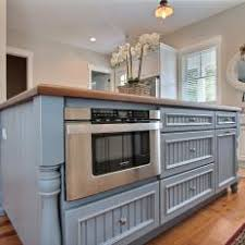 microwave in island. Blue Country Kitchen Island With Built-In Microwave In V
