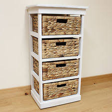white storage unit wicker: hartleys large white  basket chest home storage unit bathroom wicker drawers