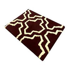 saffron fabs 2 piece geometric chocolate ivory cotton bath rug set