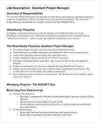 Project Manager Job Description Project Manager Job Description Sample Sample Project