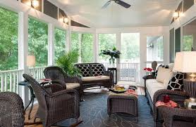 furniture excellent contemporary sunroom design. Designs IdeasComfy Sunroom Ideas With Brown Wicker Furniture And Small Table Also Plaid Floor Excellent Contemporary Design