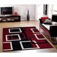 sweet home modern boxes dark red area rug 5x7 black squares carpet indoor room