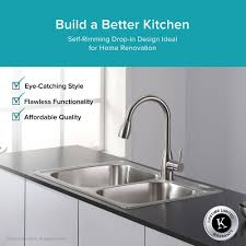 kraus 33 inch topmount 60 40 double bowl 18 gauge stainless steel kitchen sink with