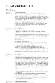 Production Engineer Resume samples. Work Experience