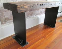 Wood Entry Bench With Steel U Legs Salvaged Wood From Nyc