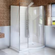 6mm 1400 x 900 Curved Right Hand Walk In Enclosure with Shower Tray