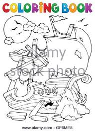 coloring book shipwreck with rocks picture ilration stock photo