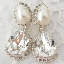 bridal earrings crystal and pearl chandelier rhinestone earring