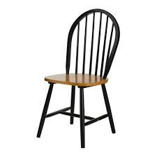 black wood dining chair. New England Style Oak And Matt Black Wood Dining Chair