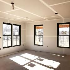 Black window frames create high contrast.