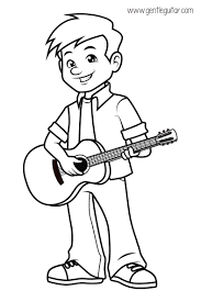 Small Picture Coloring a boy playing guitar Coloring prepares children for