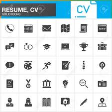 Modern Resume Icon Vector Icons Set For Resume Or Cv Modern Solid Symbol Collection