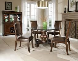 Glass Kitchen Tables Round Interesting Round Glass Dining Table Set With Cream Floor And