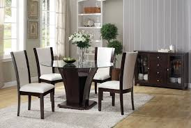 acme 70500 02 5 pc malik espresso finish wood white faux leather chairs round glass top dining table set