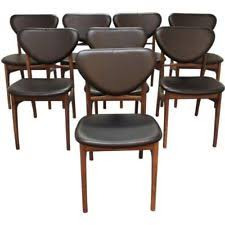 set of 8 danish modern vodder style walnut floating seat dining chairs