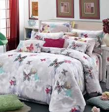 Butterfly Luxury egyptian cotton satin comforter bedding set queen ... & Butterfly Luxury egyptian cotton satin comforter bedding set queen king  size comforters sets duvet cover quilt bed linen sheet-in Bedding Sets from  Home ... Adamdwight.com