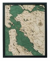 San Francisco Bay 2 D Single Level Nautical Wood Chart 16 X 20 New