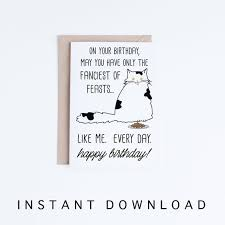 Funny Cat Birthday Cards Printables Funny Black And White Persian Cat Printable Birthday Cards Black And White Cat Card Download Pet Card