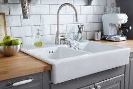 White Double Bowl Farm Sink With Stainless Steel Color Single Barn Style Kitchen Sinks