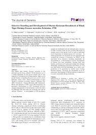 Pdf Selective Breeding And Development Of Disease Resistant