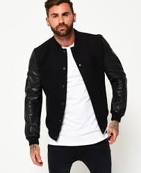 Superdry Jacket Size Chart Superdry Varsity Wool Leather Bomber Jacket Mens Jackets