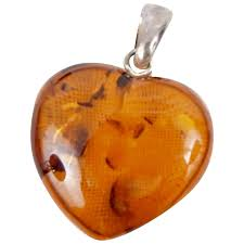 beautiful honey amber heart necklace pendant or bracelet charm five mile antiques ruby lane