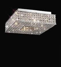 silver metal and crystal flush mounted light by the light studio
