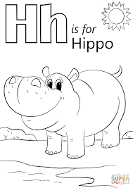 Letter H Is For Hippopotamus Coloring Page Free Printable