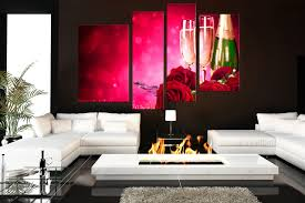 Living Room Canvas Paintings 4 Piece Canvas Photography Rose Multi Panel Canvas Red Huge