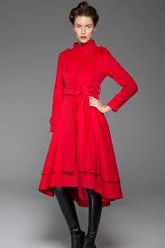 red coat wool coat tie belt coat wool coat women long wool