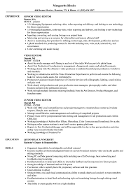 Editor Resume Objective Examples Copy Video Sample Editing Ideas