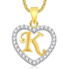 K N Air Filter Size Chart Meenaz Ame Gold Plated Crystal Brass Copper K Letter Heart Pendant Locket Alphabet With Chain For Men And Women